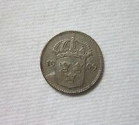 SWEDEN. SILVER 10 ORE, 1909. KING GUSTAF V.