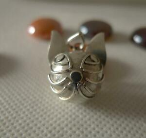 Cat Face Harmony Ball/Mexican Bola Sterling Silver Pendant 16mm SilverandSoul