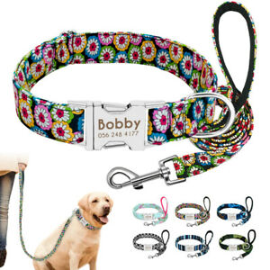 Soft Fabric Dog Collar and Leash set Personalized Custom Pet Name Plate S M L
