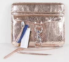 Rebecca Minkoff Rose Gold Shine Snake Embossed Leather Mac iPad Case Folio NWT