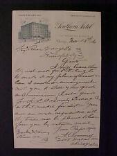 Rare Old Antique ~Chicago Southern Hotel Paper Letter~ Vintage Orig 1896