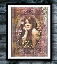 Gypsy Poppy Vintage Dictionary Poster Art Print Hippie Boho Chic Wall Room Decor