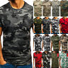 Mens Camo T-Shirt Military Short Sleeve Army Summer Blouse Sports Top Camouflage