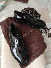 Gucci Men's Patent Leather Horsebit Loafer Shoes Black sz  10
