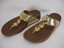 FITFLOP PETRA 475-308 GOLD SNAKE EMBOSSED LEATHER TOE THONG SANDALS WOMEN'S 8