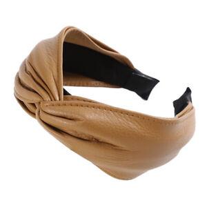 Ladies PU Leather Tie Headband Wide Hairband Hair Band Hoop Accessories Headwear