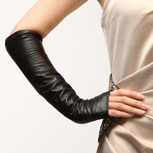 Fingerless Synthetic Leather Ladies Long Sleeve Elbow Driving Gloves Women Girls