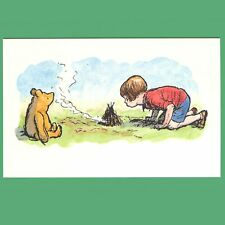 Postcard - Christopher Robin And Winnie-The-Pooh Lighting A Camp Fire