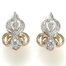 14k Rose (Pink) & White Gold Genuine Diamond Fleur de Lis Earrings
