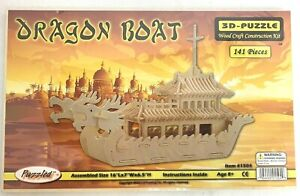 Awesome NEW Woodcraft Construction Kit DRAGON BOAT 3D Puzzle - 141 Pieces - 1504
