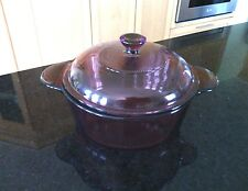 Corning Pyrex Cranberry 1.5 Qt Round Covered Casserole Dish 1148 Ovenware Lid