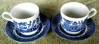 Vintage 2 Sets of 2 CHURCHILL England BLUE WILLOW Tea Cups & Saucers Replacement