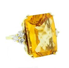 14K Yellow Gold Natural Orange Citrine 13.23 Carat SI1 Color Diamonds Ring - 6.5