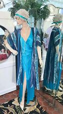 1920s DRESS 1930s FLAPPER GOWN Modern Millie GATSBY DOWNTON ABBY SET BLUE SM+