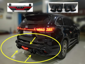 4X Rear Bumper Diffuser Lip Spoiler Guard Cover For Toyota Highlander 2015-2019