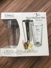Libbey 3 Piece Bar Mixing With Cocktail Recipes Shot Glass Metal Shaker Recipes