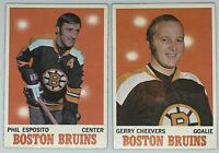1970 Topps Hockey Lot of 2 HOF Players Phil Esposito and Gerry Cheevers