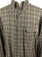 ORVIS Men's Long Sleeve Button Front Shirt Large, Tan Plaid Style (J