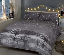 Rapport Starry Night Christmas Winter Snow Duvet Cover Bedding Set Blue or Grey