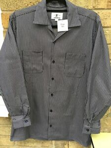"Men's 1940/50 style Rockabilly/ Rock nRoll/ jive shirt blue/ white stripes.46"""