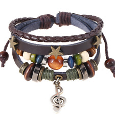 Fashion Multilayers Brown Leather Beads Bangle Chain Unisex Bracelet Wristband