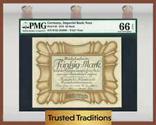 TT PK 65 1918 GERMANY IMPERIAL BANK NOTE 50 MARK PMG 66 EPQ GEM UNCIRCULATED!