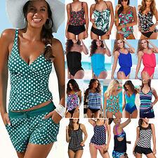 Plus Size Womens Tankini Bikini Set Padded Swimsuit Beach Bathing Suit Swimwear