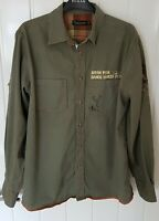 LEE COOPER (M)  Mount Borah—Borah Peak Emblem Khaki Green Long Sleeve Shirt