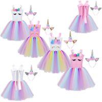 Girls Princess Cartoon Outfit Kids Rainbow Tutu Dress+Hair Hoop Party Costumes