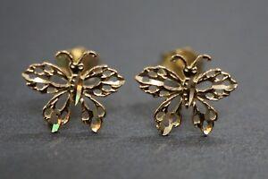 14K Solid Yellow Gold Beautiful Diamond Cut Butterfly Stud Earrings.