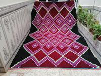 Moroccan Handmade Vintage Azilal Tribal Rug Beni Ourain Berber Carpet Wool Rug