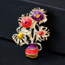 Oil Painting Alloy Gold Plated Fashion Scarf Flower Vase Pin and Brooch