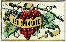 """1950 ca """" ASTI SPUMANTE """" Etichetta pubblicitaria VINTAGE 10x6 cm"""