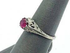 Antique Art Deco 18K White Gold Crisp! Filigree Pink Stone Solitaire Ring
