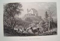 Schloß Callenberg Coburg Beiersdorf Franken Bayern alter Stahlstich 1844