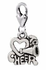 Cheerleader Heart I Love to Cheer Words Lobster Clip Dangle Charm for Bracelets