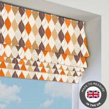 Orange Patterned Roman Blind - Blackout -Many Sizes - Made To Measure In The UK