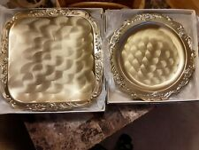 Vintage Cellini Romanesque Gold Plated Round & Square Platter (Set of 2)