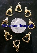 8 Heart gold plated 12mm metal lobster claw parrot trigger jewelry clasps fpc213