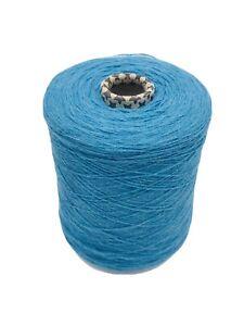 100% Merino Wool Yarn In Aqua Blue.500 Gram Cone.2ply Hand/machine Knit.Uk Spun.