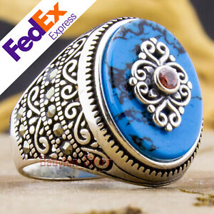 925 Sterling Silver Turquoise & Ruby Men's Luxury Turkish Ottoman Ring All Sizes