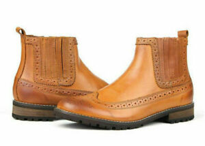 Mens Handmade Boots Genuine Tan Leather Oxford Formal Wear Casual Dress Shoe New