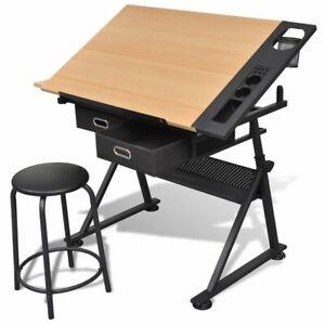 Drawing Table Adjustable Height Tilt Angle Drafting Desk With Drawer And Stool