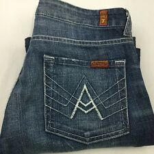 Seven 7 For All Mankind  A Pocket Sz 27 X 32 High Waist Blue Jeans USA Made