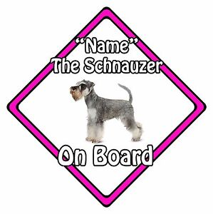 Personalised Dog On Board Car Safety Sign - Miniature Schnauzer On Board Pink