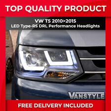VW Transporter T5 Van 1//2010-2015 Black Twin Headlights Headlamps Pair O//S /& N//S