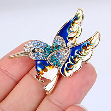 Animal Flying Fat Bird Brooch Pin Enamel Blue Austrian Crystal Gold Tone Gift