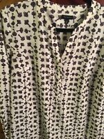 Talbots Women's Blouse Size medium Pop over Ivory Color Keys Pattern Long sleeve