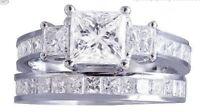 2.85 ct Princess Three Stone Diamond Engagement Ring Wedding Band 14k White Gold