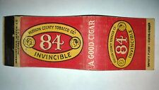 "RARE OLD Vintage ""84 INVINCIBLE-Hudso County Tobacco Co"". matchbook.MADE IN USA"